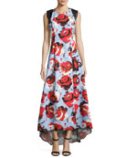 Academy Sleeveless Floral Ottoman Gown