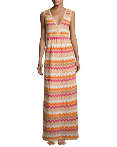 Sleeveless Zigzag Maxi Dress, Multi
