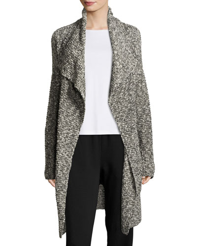 Long Draped Open Cardigan, Black/White