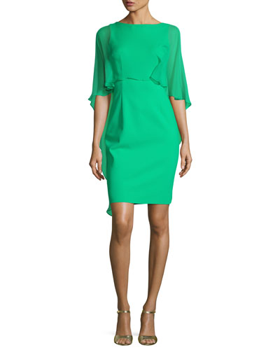 Cape-Sleeve Scuba Sheath Dress