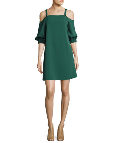 Drape Twill Cold-Shoulder 3/4-Sleeve Shift Dress, Green