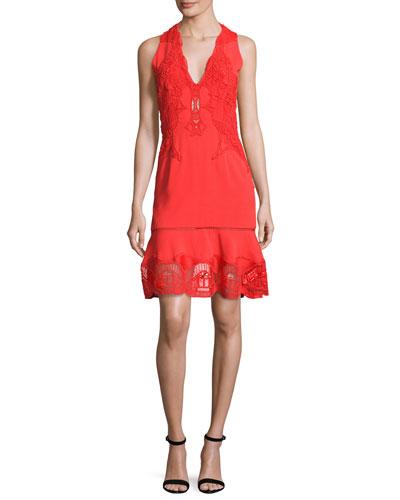Lace-Appliqué Crepe Cocktail Dress