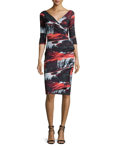 Flo Draped Abstract Cocktail Dress