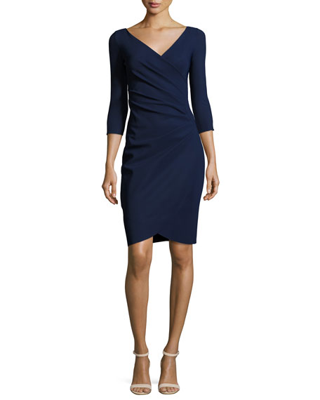 La Petite Robe di Chiara Boni Emertiene 3/4-Sleeve Wrap-Style Cocktail Dress, Navy