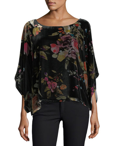 Killani 3/4-Sleeve Floral Velvet Top