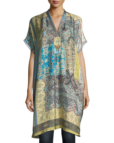 Luda Printed Silk Twill Tunic, Plus Size