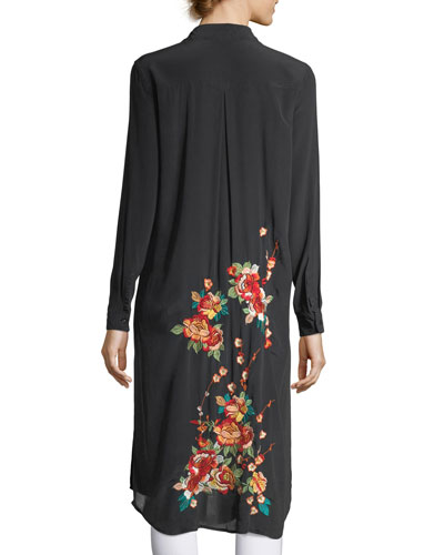 Cherry Floral Embroidered Long Tunic, Blue