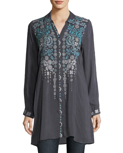 Skye Long-Sleeve Embroidered Georgette Tunic, Plus Size