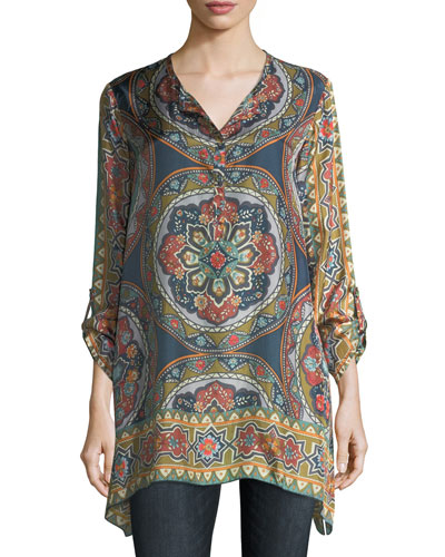 Spezia Long-Sleeve Printed Silk Georgette Tunic, Plus Size