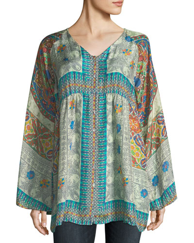 Mocity Button-Front Printed Silk Georgette Tunic, Plus Size