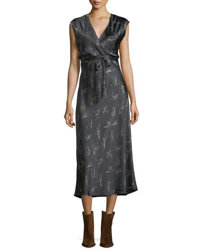 Spring Floral-Print Crossover Satin Slip Dress
