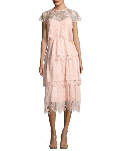 Elsa Tiered Lace Midi Dress, Blush