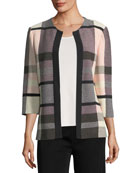 Plaid 3/4-Sleeve Jacket, Plus Size