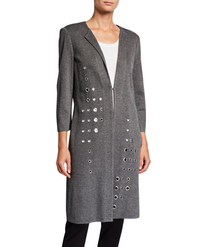 Grommet Long 3/4-Sleeve Jacket, Plus Size