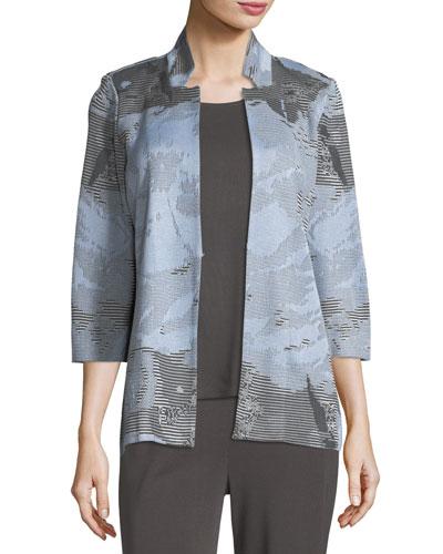 Subtle Stripes & Floral Jacket, Plus Size