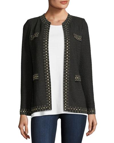 Stud-Trim Knit Jacket