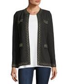 Stud-Trim Knit Jacket, Petite