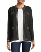 Stud-Trim Knit Jacket, Plus Size