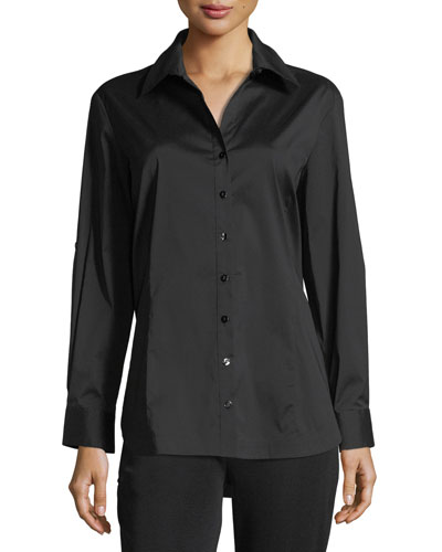 Long-Sleeve Button-Front Shirt, Petite