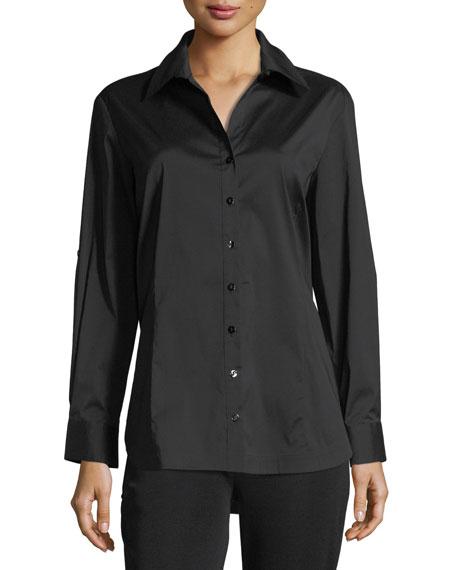 Misook Petite Long-Sleeve Button-Front Shirt