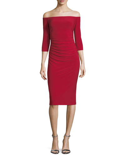 Off-Shoulder 3/4-Sleeve Shirred-Waist Cocktail Dress