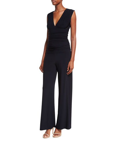 Sleeveless V-Neck Shirred-Waist Jumpsuit