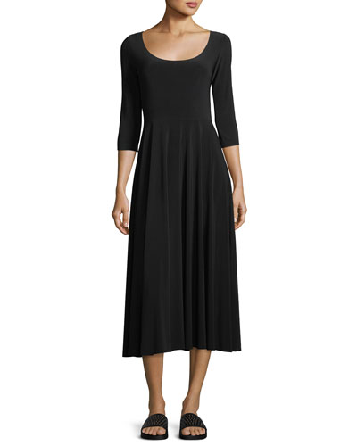 3/4-Sleeve Scoop-Neck Reversible Flared Dress