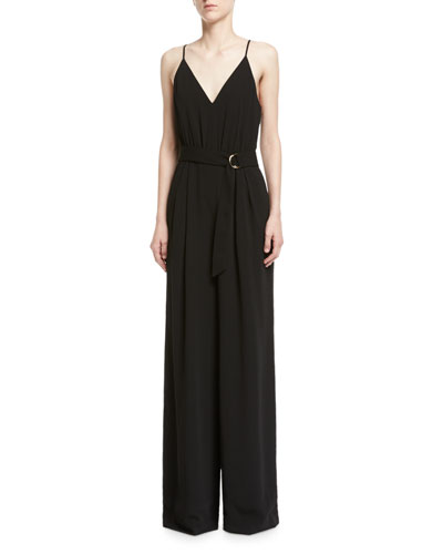 V-Neck Crepe Sleeveless Slip Jumpsuit, Black