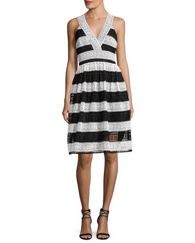 colorblock lace v-neck dress