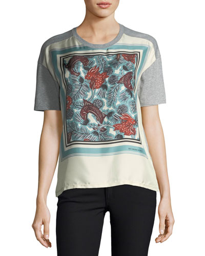 Short-Sleeve Silk-Front Beast-Print T-Shirt