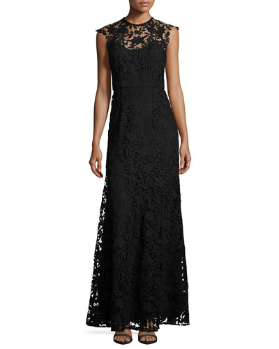 Raven Sleeveless Guipure Lace Gown