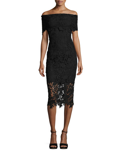 Madison Off-the-Shoulder Lace Sheath Dress