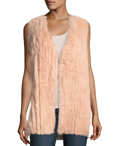 Luxury Fox Fur Vest w/ Sequin-Trim Cashmere Back