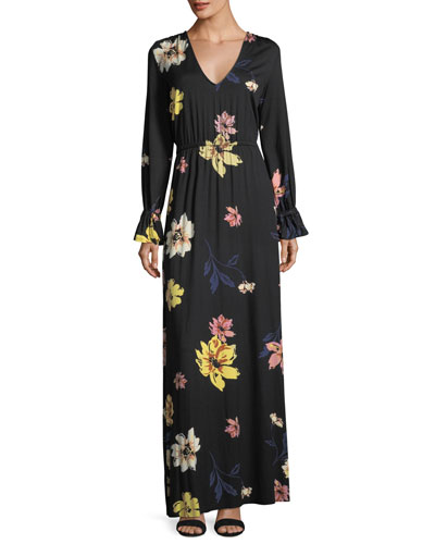Jamie Long-Sleeve Floral-Print Maxi Dress, Plus Size