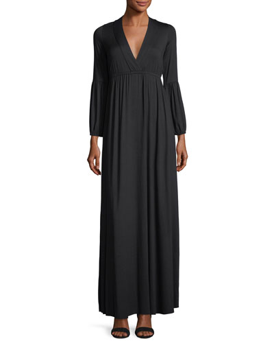 Celestia Lantern-Sleeve Surplice-Neck Maxi Dress, Plus Size