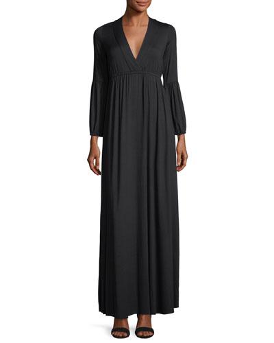 Celestia Lantern-Sleeve Surplice-Neck Maxi Dress, Plus Size