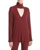 Marla Ribbed Cutout Turtleneck Sweater