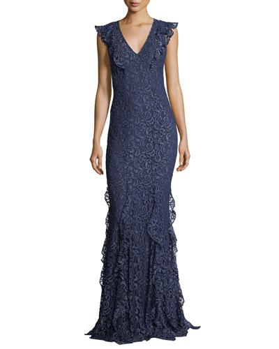 Ruffled evening gown neiman marcus quick look junglespirit Choice Image