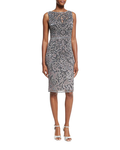 Sleeveless Bateau Embellished Cocktail Dress, Pewter