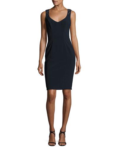 Sleeveless Embellished-Back Sheath Dress, Midnight