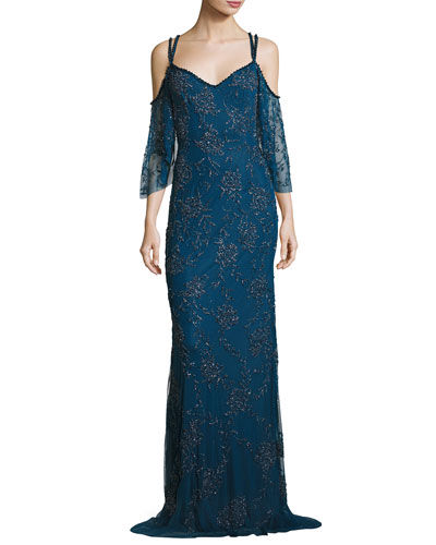 Cold-Shoulder Vintage Beaded Slip Gown, Mallard Blue