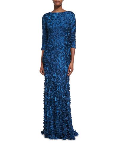 Three-Quarter Sleeve Boat-Neck Petal Gown, Mallard Blue