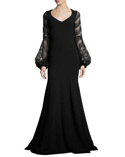 Long-Sleeve Crepe Mermaid Gown, Black