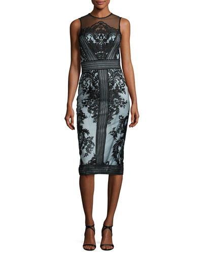 Sleeveless Two-Tone Illusion Embroidered Lace Cocktail Dress