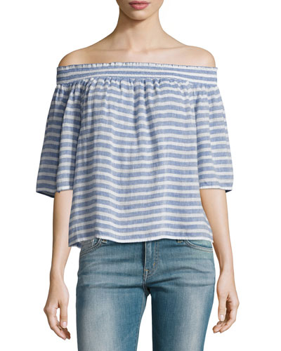 Isabelle Off-the-Shoulder Striped Linen Top