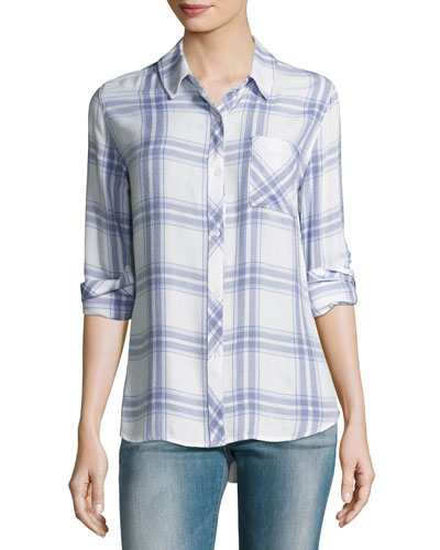 Hunter Plaid Button-Front Top