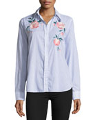 Nevin Striped Floral-Embroidered Poplin Top