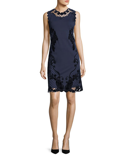 Delany Sleeveless Velvet Lace-Trimmed Dress