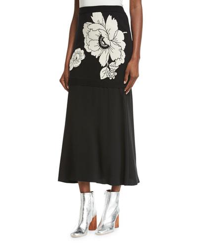 Floral Jacquard Knit Maxi Skirt