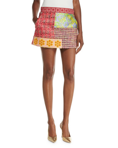 Patchwork Tweed Miniskirt